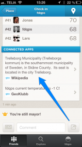 Connected app in Foursquare
