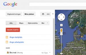"""Skapa karta med dina platser genom att klicka på """"Mina platser"""" och """"SKAPA KARTA""""."""