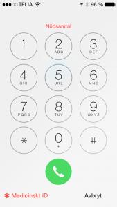 Förutom att du nu kan ringa 112 så kan du alltså också ta fram ICE informationen som man tidigare lagt in i appen Hälsa.