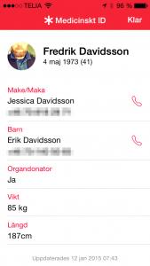 Man får nu upp ICE information med nummer och annan relevant information. Man kan även ringa direkt till de personer som man valt skall vara ICE kontakter.